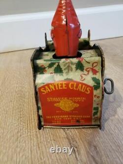 Antique 1921 Ferdinand Strauss Santa Claus Tin Wind-up Toy Works