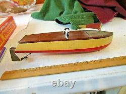 Antique 1930's Clockwork Motor Wood Boat Model Wooden Wind Up Pond Boat
