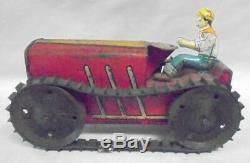 Antique 1930's Farm Fresh MARX Wind up Tin Litho Tractor & Farmer Winds and Runs