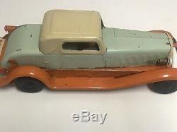 Antique 1930s Pierce Arrow Girard Pressed Steel Wind Up Toy Car. Original Paint