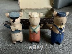 Antique 3 little pigs musicians Walt Disney tin toys wind-up Schuco German boxed