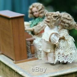 Antique Adorable Bisque Automation Doll Musical Box c1890 Poupée Ancien Musique