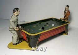 Antique Billiard Double Pool Players Tin Toy Wind-up WORKS Ranger or Gely