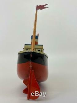 Antique Bing Germany Tin Litho Leviathan Vaterland Clockwork Toy Boat Ship + Key