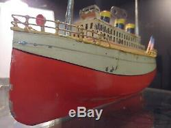 Antique German Clockwork Tin Plate Ocean Liner by Falk! Rare! Boat, Ship, Toy