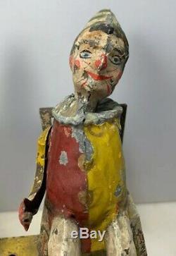 Antique German Gunthermann Clockwork Tin Toy Windup Musical Automated Clowns