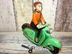Antique German MSB Vespa Lehman Lady Women Scooter Motorcycle Wind-Up Toy 1950's