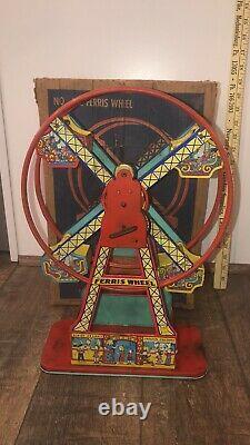 Antique J Chein Hercules Mechanical Ferris Wheel Tin Tony Mint in box