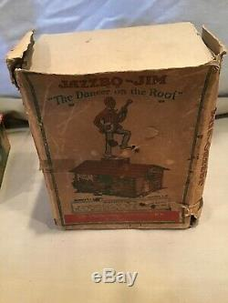 Antique Jazzbo Jim Dancer on the Roof Tin Windup Toy. With ORIGINAL BOX