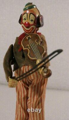 Antique Key Wind Tin Clown Happy The Violinist Tps Toys Japan 1956