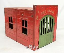 Antique Kingsbury FIRE STATION No. 8 Pressed Steel FIREHOUSE Wind-up COMPLETE