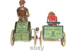 Antique LEHMANN Tin Clock work Wind Up Toy Anxious Bride Rad Cycle Motorcycle