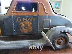 Antique Marx BIG Tin Toy Wind Up G-Man Pursuit Car- Great Graphics