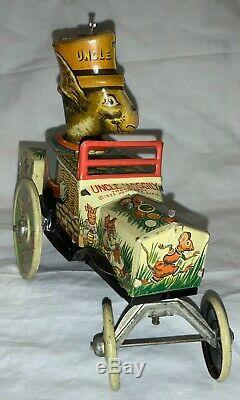 Antique Marx Tin Easter Litho Wind-up Toy Uncle Wiggily Rabbit In Car