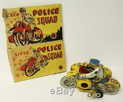 Antique Marx Toys Mechanical Wind Up Police Squad Motorcycle Toy with Partial Bo