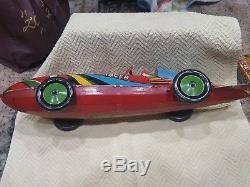 Antique Vintage 1935 Marx Clockwork Wind Up Tin Toy Rocket Racer Race Car NICE