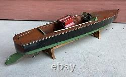 Antique Vintage LARGE Rimmer Jacrim Wind Up Toy Wooden Speed Boat