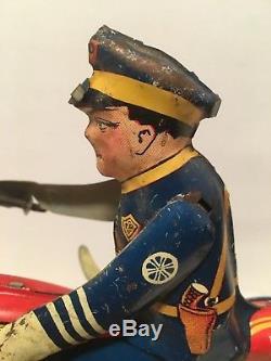 Antique Vintage Marx Police Ballon Motorcycle Tin Litho Wind Up Toy