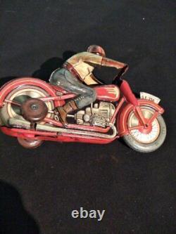 Antique Vintage Technofix Tin Litho Motorcycle Wind Up Toy US Zone Germany Works