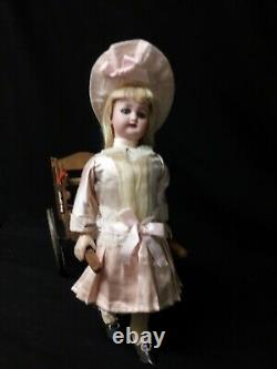 Antique Wind=Up Toy, Simon and Halbig Doll Pulling a Cart