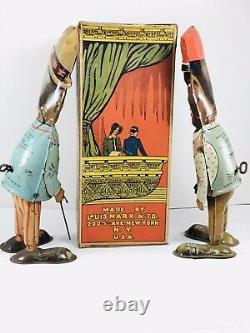 Antique tin wind up Marx Amos & Andy Walkers with Moving Eyes & ORIGINAL Box