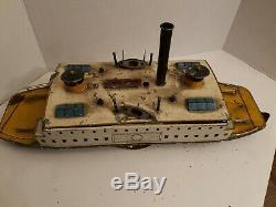 Atq BING Bavaria FERRY Boat Steam Ship 21 lg Tin Wind-up GERMAN VERY RARE Works