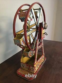Authentic 1930s J Chein & Co USA HERCULES Tin Wind Up Toy Ferris Wheel