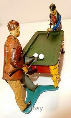 BILLIARD Toy c1915 KiCo German Tin wind-up RARE 2 player version Missing wind-up