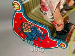 Bandai Japan Tin Celluloid Windup Funny Rocker Circus Clown Dog Toy in Orig Box