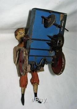 C 1900 VERY RARE Victor Bonnet Le Petit Livreur Boy Pushing Cart Clockwork Toy