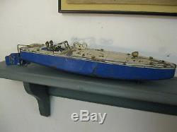 Classic vintage Tin Wind Up Toy Speed BOAT with Drivers by JEP. 17 long Working