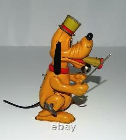 DISNEY 1950's PLUTO THE DRUM MAJOR LITHOGRAPHED TIN WINDUP TOY+LOUD HORN+EX