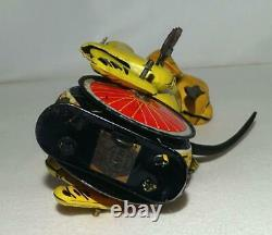 DISNEY 1950's PLUTO TIN LITHOGRAPHED UNICYCLIST LINEMAR WIND-UP TOY+LABEL
