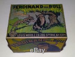 Disney1938ferdinand The Bulllithographed Tin Wind-up Toy By Marx-ex! Boxed Set