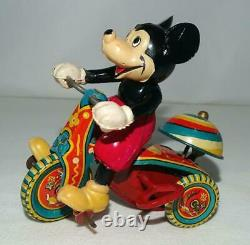 EX! 1ST VERS. BOXED SETDISNEY1950's CELLULOIDMICKEY MOUSETIN WIND-UP TRICYCLE