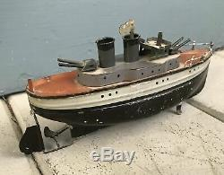 Early CARETTE GUN BOAT tin Clockwork Original Paint Wind-Up Ship with Key