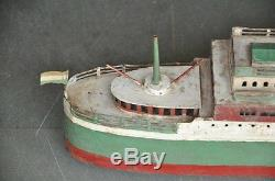 Early Vintage Big 26'' Long Handpainted Passenger Ship Tin Wind Up Toy, Germany