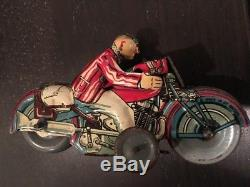 Early Vintage Mettoy Gentleman Tin Motorcycle (Great Britain)