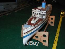 Early Vtg German Tin Clockwork Fleischmann Ocean Liner Ship Boat