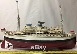 Early Vtg German Tin Clockwork Fleischmann Ocean Liner Ship Boat Paint Restored