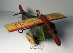 Ferdinand Strauss 1920's Wind-up Airplane MAILPLANE Tin Toy Plane