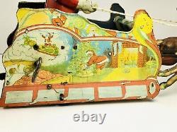 Ferdinand Strauss RARE Santee Claus Sleigh Mechanical Tin Toy Wind Up very Nice