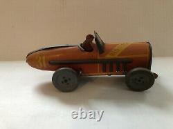 Ferdinand Strauss Wind Up Red Flash Tin Toy Racer
