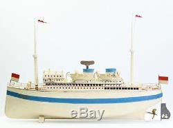 Fleischmann Ocean liner Albert Ballin Tin Toy Steam Ship hand painted 50 cm boat