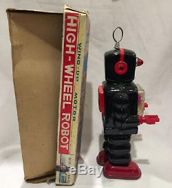 High-Wheel Robot K. O. Japanese vintage tin toy wind-up motor Yoshiya WORKING