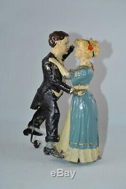 Issmayer 1905 Tango Couple Blue Dress Tin Windup OLD GREAT