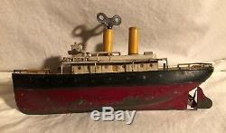 Ives Toys New York 13.5 inch LARGE Tin Wind Up Antique Toy Boat 1910's