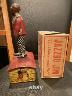 JAZZBO JIM 1921 LOUIS MARX WORKING TIN LITHO WIND UP TOY With RARE BOX VARIATION