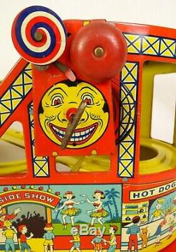 J. Chein #275 Tin Litho Mechanical Wind Up Roller Coaster-ex. In Orig. Box
