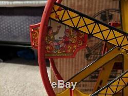 J Chein Hercules Ferris Wheel Works With Original Box Vintage Tin Wind Up Toy